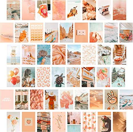 Amazon Com Cy2side 50pcs Peach Beach Aesthetic Picture For Wall Collage 50 Set 4x6 Inch Boho Style Collage Print Kit Teal Color Room Decor For Girls Wall Art Print For Room Dorm Photo