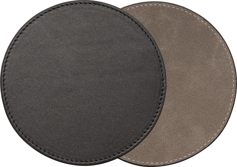 honju Home Real Leather Coaster for Smart Speakers Like Apple HomePod, Sonos Play 1, Amazon Echo Series [Handmade I Diameter 10cm I Real Leather & Microfibre I Black] - 88053