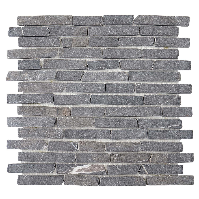 Mendler Carrelage Vigo T688, marbre, Pierre Naturelle, mosaique, Baguettes, 11 pièces à 30x30cm = 1m² ~ Gris 11 pièces à 30x30cm = 1m² ~ Gris