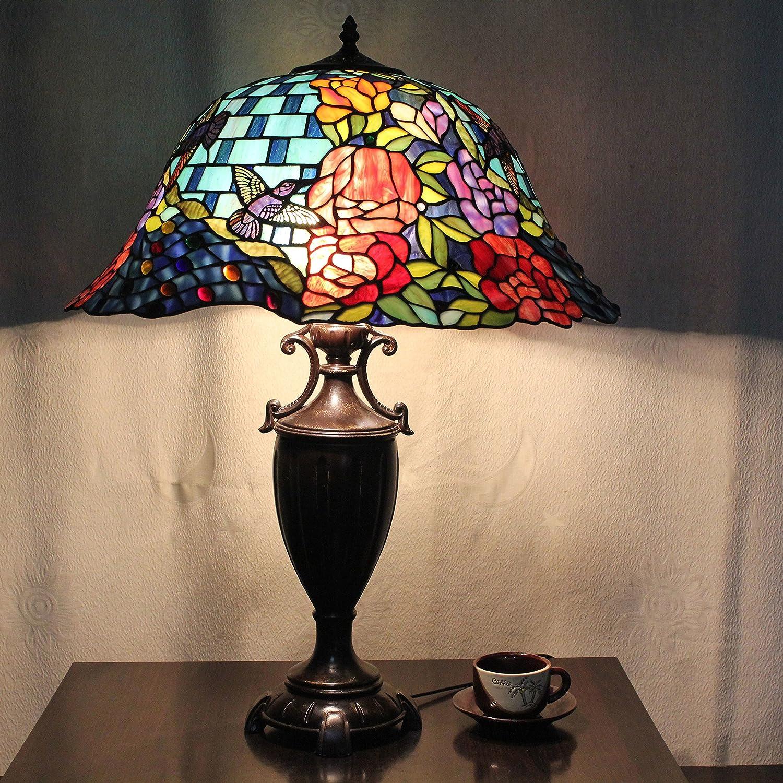 20 Inch vintage Europea Tiffany lámpara de mesa de lujo Pastoral ...