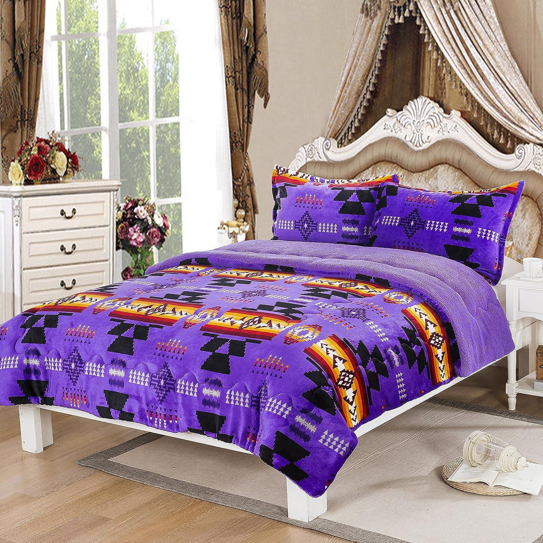 Southwest Design (Navajo Print) Queen Size 3pcs Set 16112 Purple
