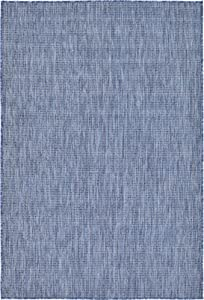 Unique Loom Outdoor Solid Collection Casual Transitional Indoor and Outdoor Flatweave BlueArea Rug (4' 0 x 6' 0)
