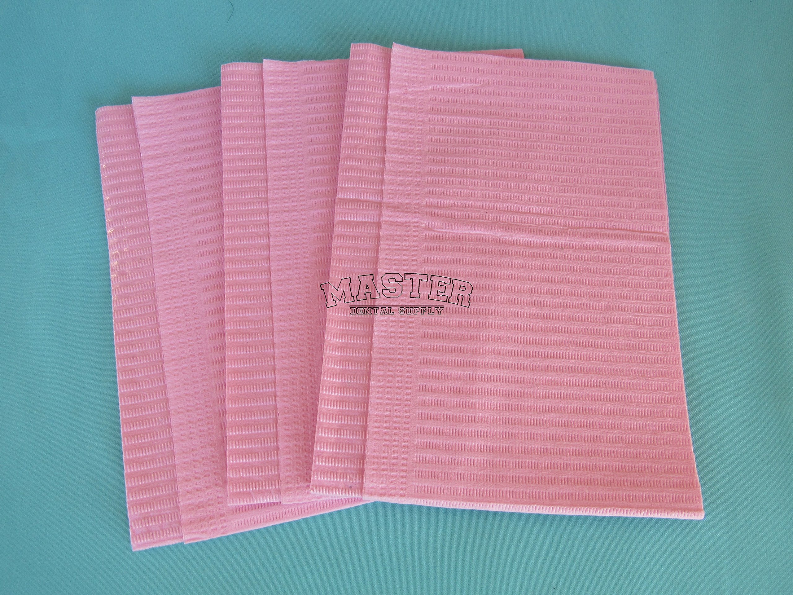 Disposable Patient Bibs Dental Tissue TattooTowels 500 Pcs/Case PINK Color 2 + 1 Ply Poly Waterproof 13'' X 18''