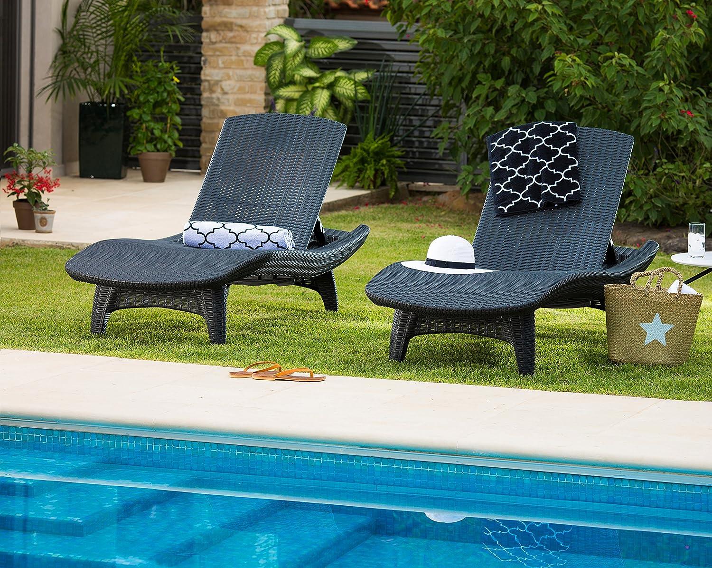 Garden Sunlounger Rattan Recliners Outdoor Keter Lounge