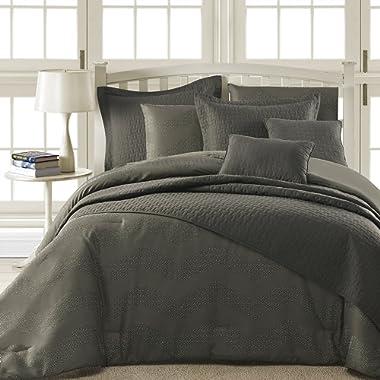 Comfy Bedding Spot Chevron Microfiber 5-Piece Comforter Set (King 5-piece, Grey)