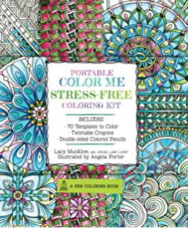 Portable Color Me Stress Free Coloring Kit Includes Book Colored Pencils And Twistable