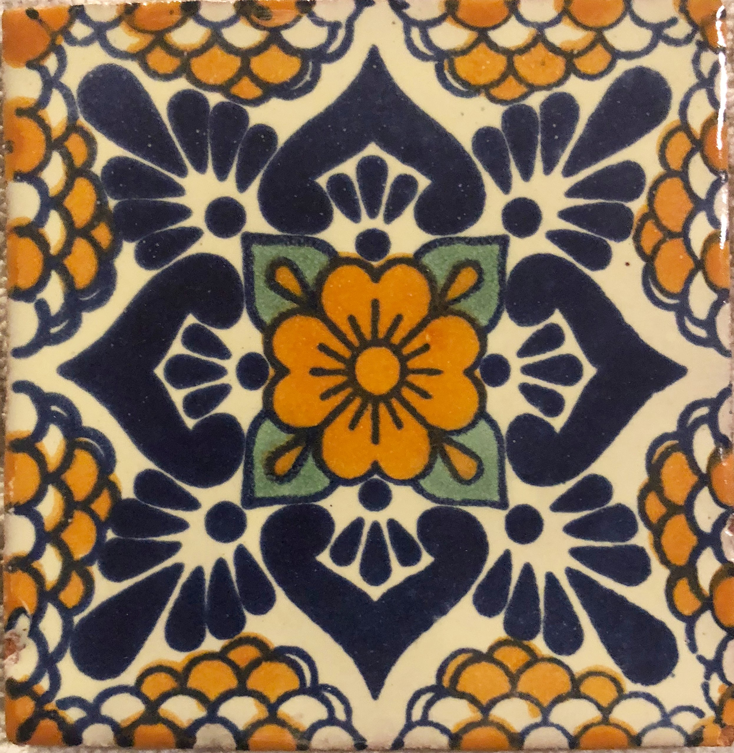 Ceramic Talavera Mexican Tile 4x4'', 9 Pieces (NOT Stickers) A1 Export Quality! - EX104Y