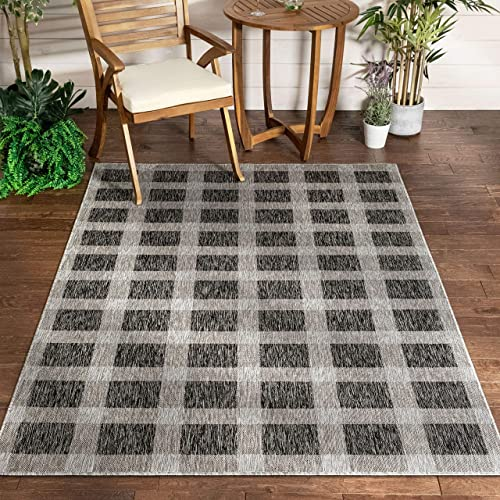 Well Woven Freja Dark Grey Indoor Outdoor Flat Weave Pile Buffalo Check Pattern Area Rug 8×10 7 10 x 9 10