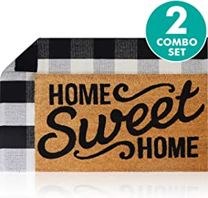 "Sierra Concepts Pure Coco Coir Front Door Welcome Mat Outdoor Rug 30""x17"" + Buffalo Plaid Rug Checkered Layered Black and White Floor Combo Set - Non Slip Entryway Indoor Outdoors Mats Home Sweet Home"