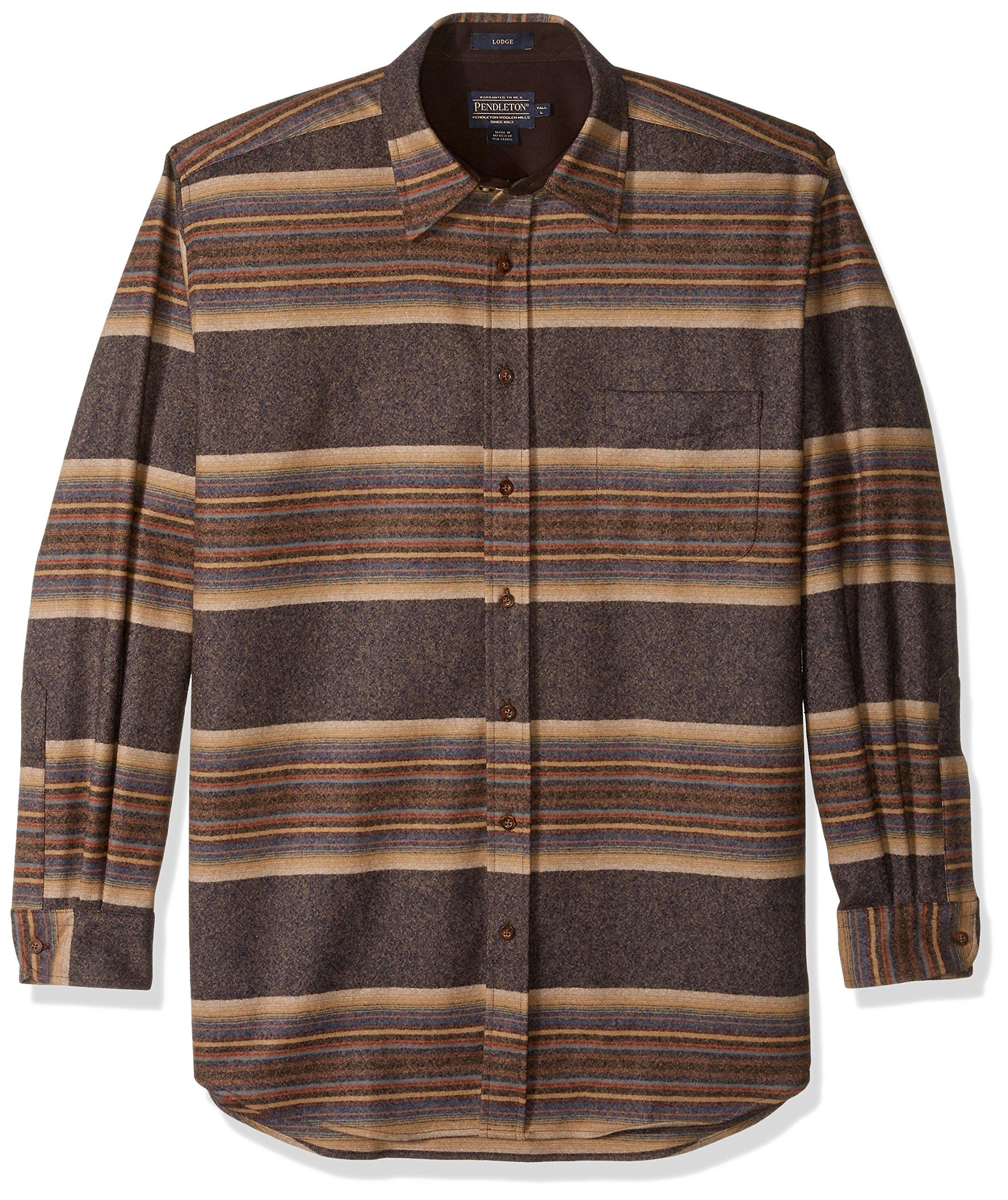 Pendleton Men's Size Long Sleeve Button Front Tall Lodge Shirt, Navy/tan/Blue Stripe XL