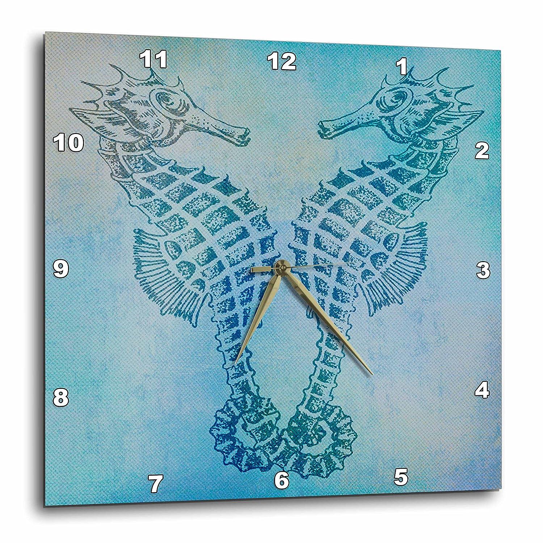 10 by 10-Inch 3dRose DPP/_79382/_1 Aqua Seahorses Beach Theme Vintage Art-Wall Clock