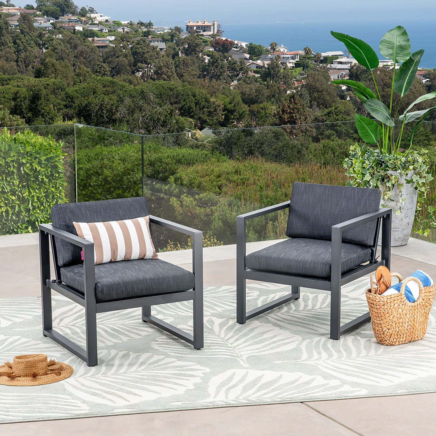 Christopher Knight Home 305394 Wally Outdoor Aluminum Club Chairs Set of 2 , Dark Gray and Black