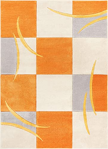 Well Woven Fallon Orange Modern Geometric Boxes Hand Carved 4×6 3 11 x 5 3 Area Rug Easy to Clean Stain Fade Resistant Thick Soft Plush