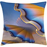 Ambesonne Fractal Throw Pillow Cushion Cover, Trippy Fantastic Gradient Shell Figures in Digital Textured Tones Sci Fi Design, Decorative Square Accent Pillow Case, 20 X 20 inches, Blue Merigold