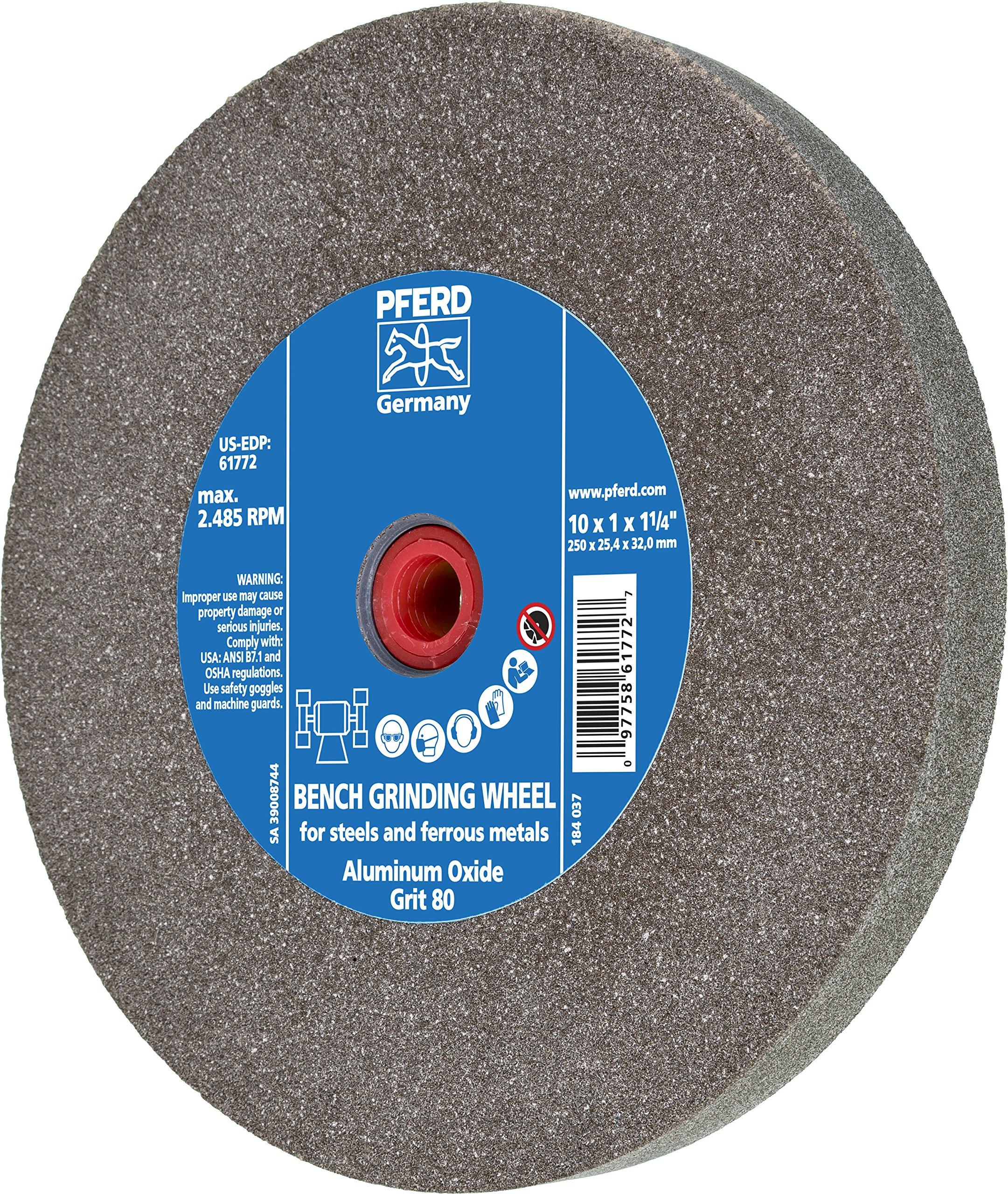 PFERD 61772 Bench Grinding Wheel, Aluminum Oxide, 10'' Diameter, 1'' Thick, 1-1/4'' Arbor Hole, 80 Grit, 2485 Maximum RPM