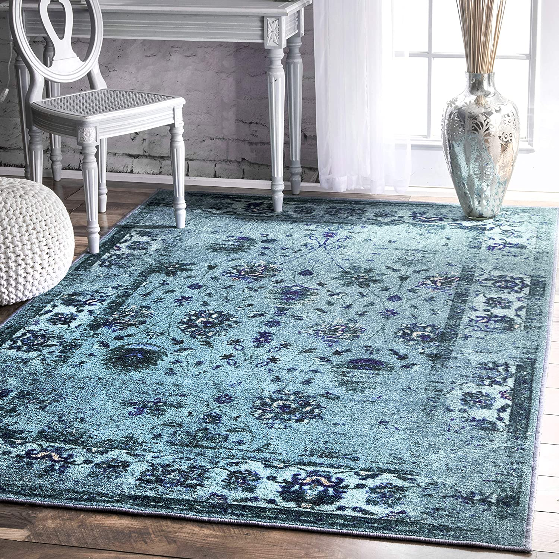 nuLOOM Elizabeth Vintage Persian Area Rug, 8' x 10', Turquoise