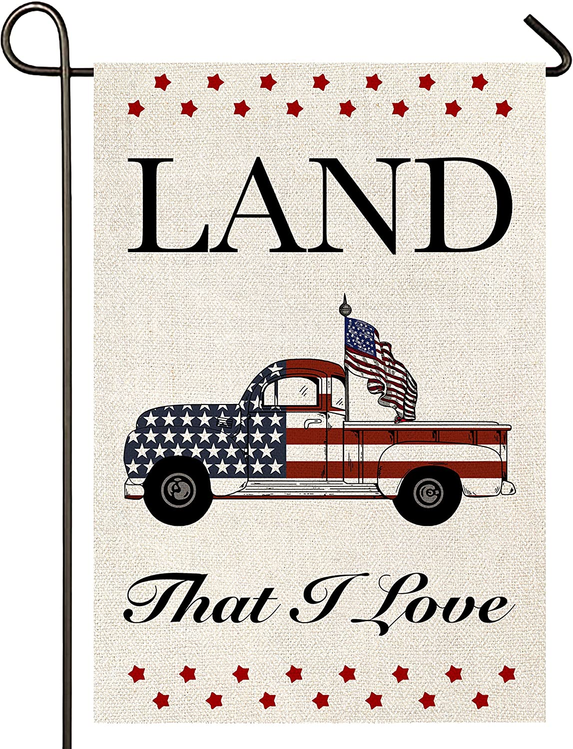 Atenia Burlap Garden Flag, Double Sided American Patriotic Garden Outdoor Yard Flags for 4th of July Decorations (Garden Size - 12.5X18)
