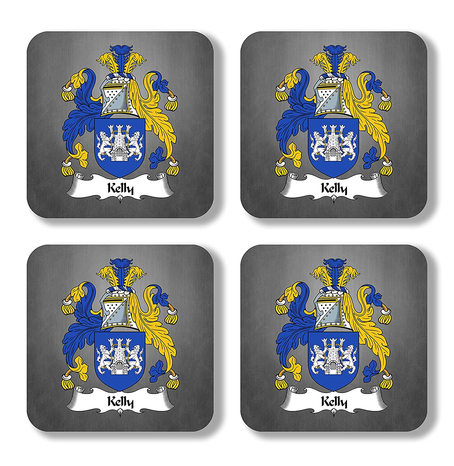 Kelly Coat of Arms/Family Crest Coaster Set, by Carpe Diem Designs – Made in the U.S.A.