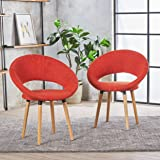 Christopher Knight Home 301202 Kagan Fabric Modern Dining Chair (Set of 2) (Muted Orange),