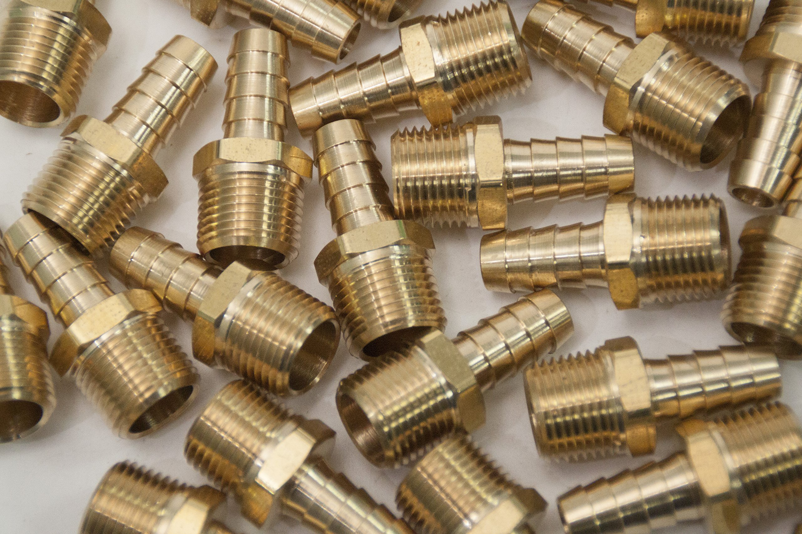 LTWFITTING Brass Barb Fitting Coupler/Connector 3/8 Hose ID x 3/8 Male NPT Fuel(Pack of 300)