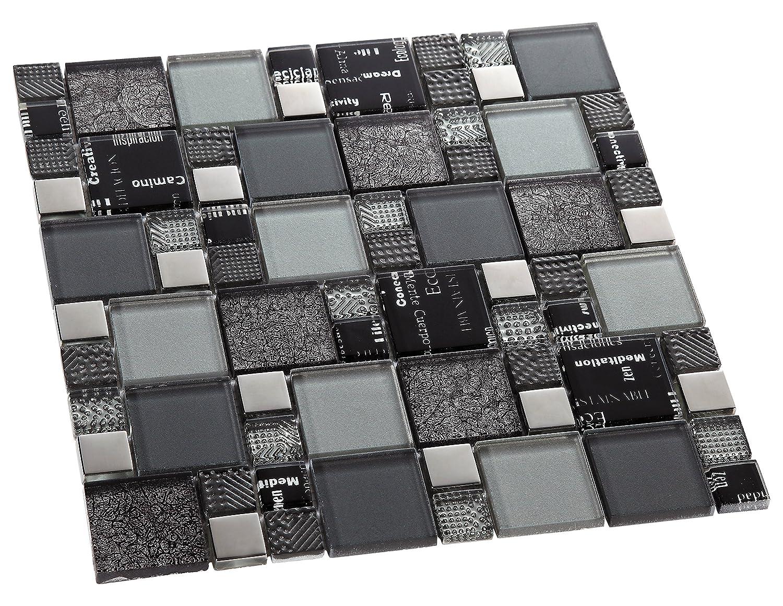 Mosaico de Vidrio en Malla DEC-47082AUU007 30 x 30 cm Verde 8 mm
