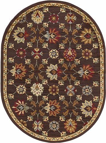 Best living room rug: Devon Transitional Floral Brown Oval Area Rug