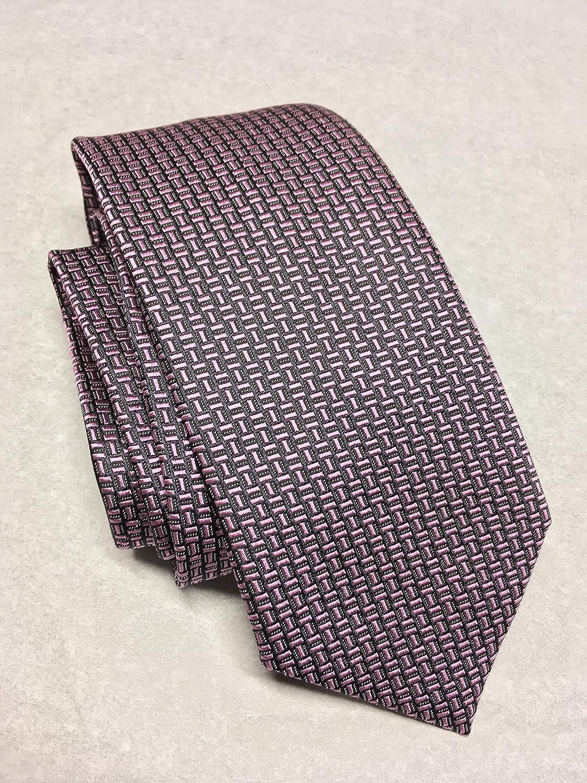 fc16f283 Ermenegildo Zegna Black/Pink Geometric Pattern Italian Silk Tie at ...