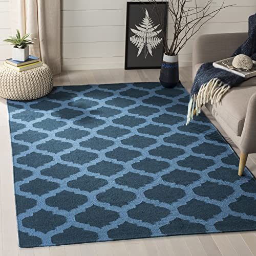 Safavieh Dhurries Collection DHU623C Hand Woven Ink Premium Wool Area Rug 6 x 9