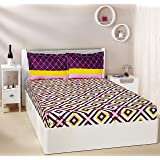 Amazon Brand - Solimo Diamond Dreams 144 TC 100% Cotton Double Bedsheet with 2 Complimentary Pillow Covers - Violet