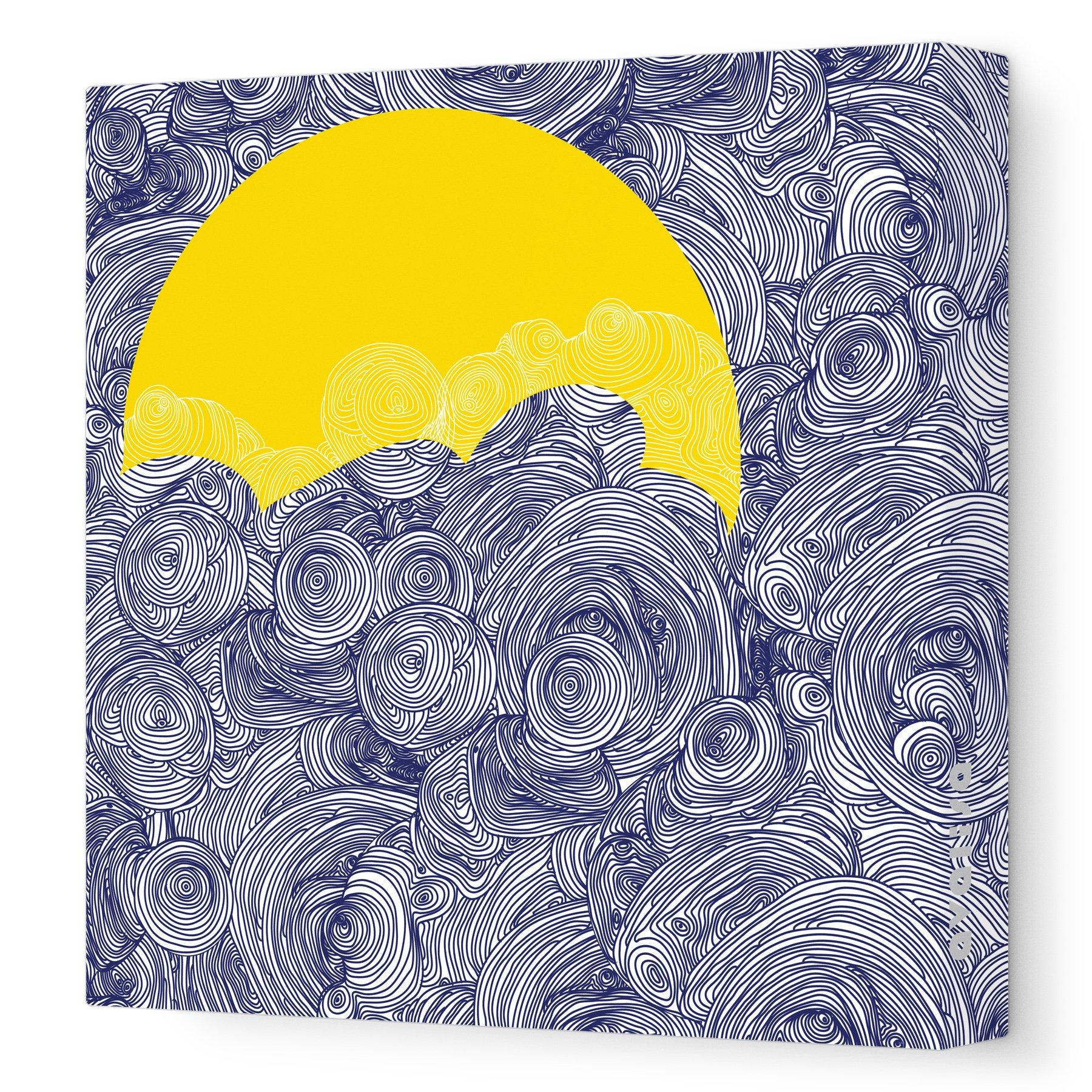 Avalisa Stretched Canvas Nursery Wall Art, Sun and Sky, Navy, 36'' x 36''