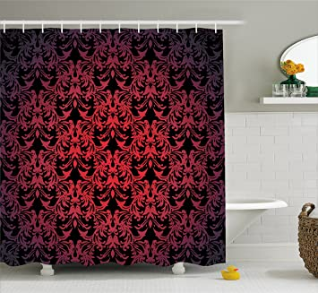 Red And Black Shower Curtain By Ambesonne Victorian Antique Old European Design Floral Swirls