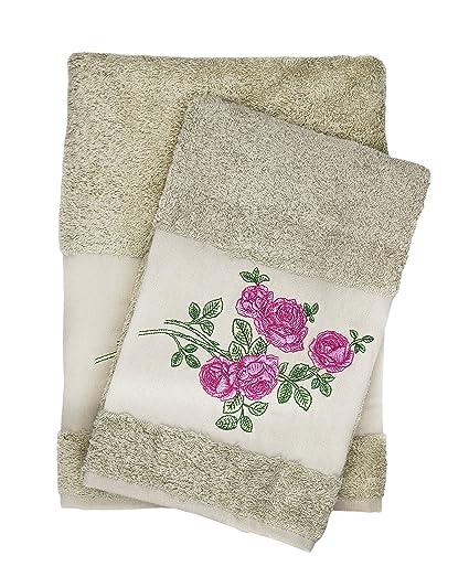Lujo rosa bordado marrón juego de baño y toalla de mano, 100% algodón de