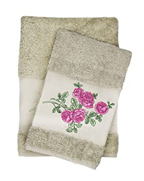 Lujo rosa bordado marrón juego de baño y toalla de mano, 100% algodón de baño y regalo por Ebru: Amazon.es: Hogar