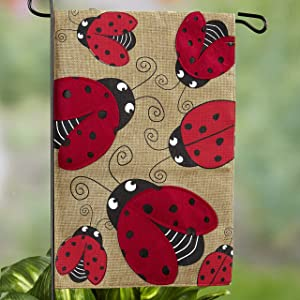 The Lakeside Collection Ladybug Garden Flag - Decorative Sign for Yards, Patios, Porches