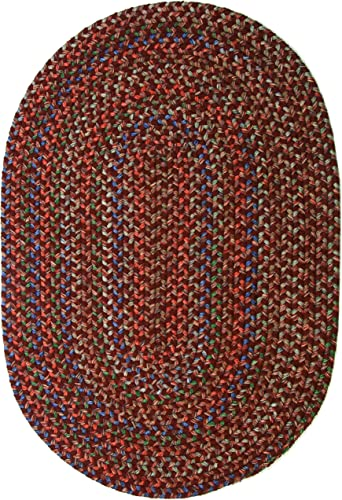 Katherine Multi Indoor Outdoor Oval Braided Rug, 5 by 8-Feet, Burgundy