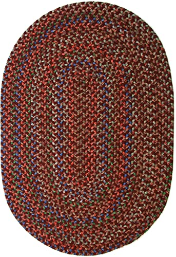 Katherine Multi Indoor Outdoor Oval Braided Rug, 4 by 6-Feet, Burgundy