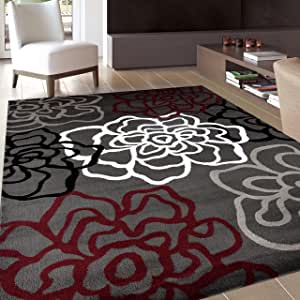 """Contemporary Modern Floral Flowers Red/Gray Area Rug 7' 10"""" X 10' 2"""""""