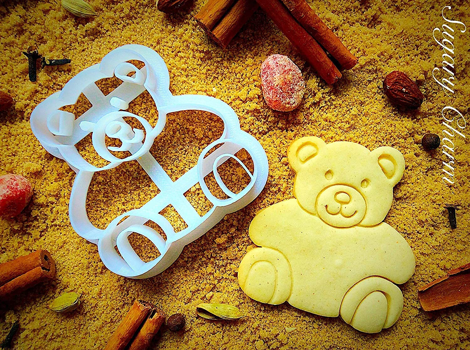 Teddy Bear Cookie Cutter - Small Present for Valentines Day, 1st Happy Birthday and Housewarming - Unique Shaped Cookie Cutters for Baby Shower - Handmade Cute Mini Kids Cutters by Sugary Charm