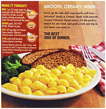 Velveeta Shells and Cheese with 2%Milk, 12-Ounce Box: Amazon.com: Grocery & Gourmet Food