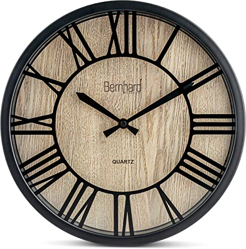 Bernhard Products Wall Clock 12 Inch Noiseless Brown Farmhouse Raised Numbers