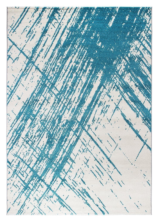 Andiamo 725574 Saint Tropez Teppich, Polypropylen, Creme-Türkis, 290 x 200 x 0,8 cm