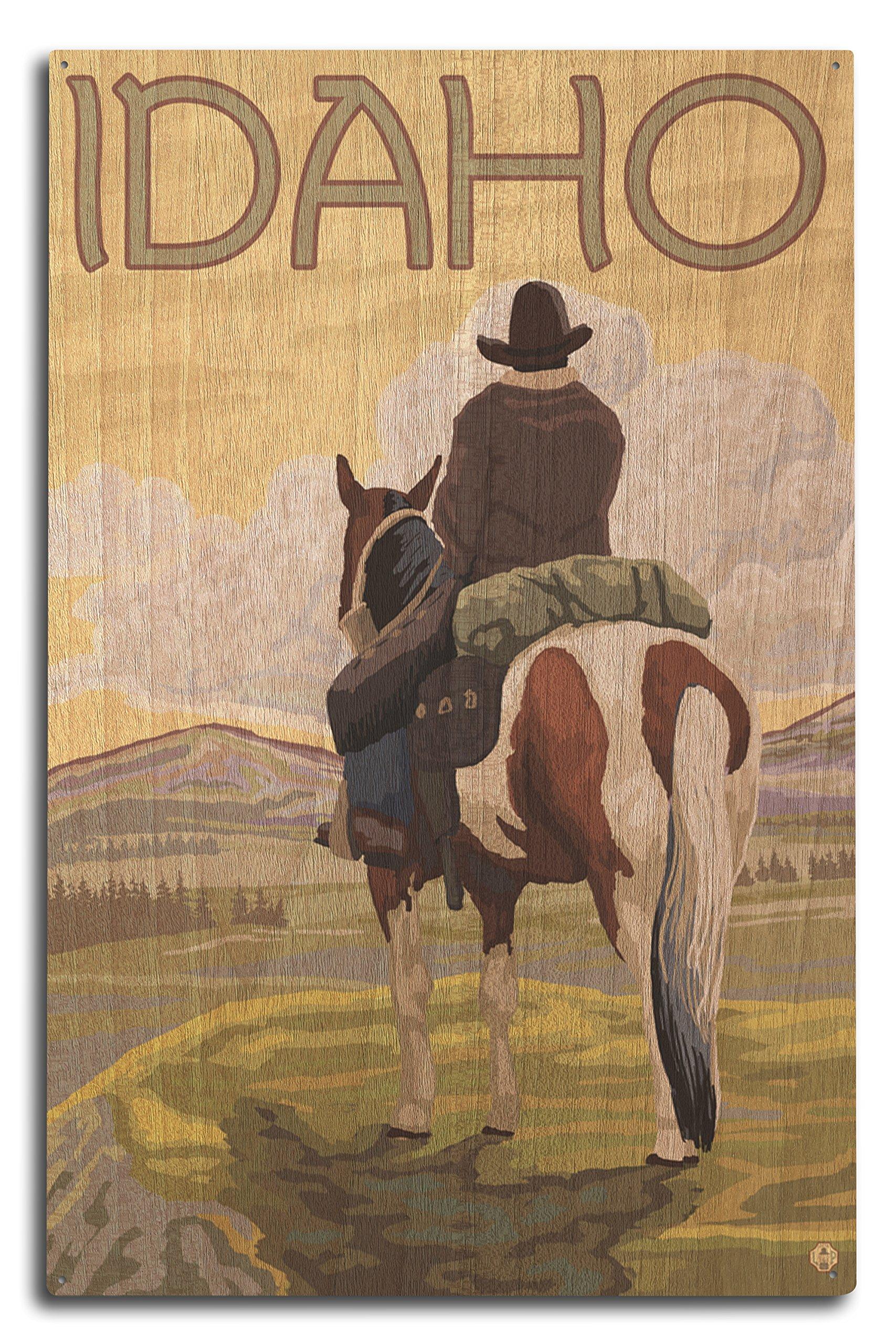Lantern Press Idaho - Cowboy and Horse (10x15 Wood Wall Sign, Wall Decor Ready to Hang)