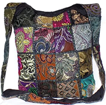 d74f9c7b55 Patchwork Hippie Bag Black   Multi Colour Patch Sequin Beads Mirror  Embroidered Large Cotton Boho Gypsy