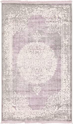 Unique Loom New Classical Collection Traditional Distressed Vintage Classic Purple Area Rug 3 3 x 5 3