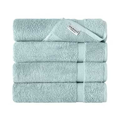SALBAKOS Luxury Hotel & Spa Turkish Cotton 4-Piece Eco-Friendly Bath Towel Set 27 x 54 Inch, Seafoam Green