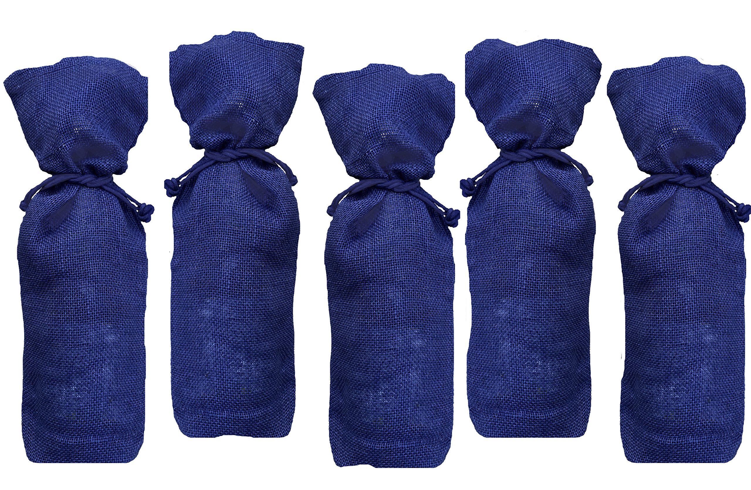 Outside the Box Papers Navy Blue Jute Burlap Wine Bags with Drawstring - 5 Pack
