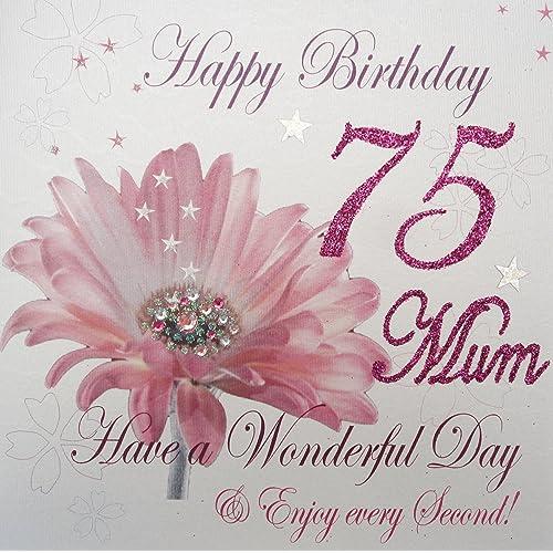 WHITE COTTON CARDS Wba75 Mum Pink Gerbra Happy Birthday 75 Have A Wonderful