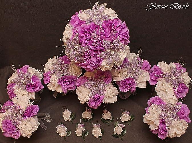 Amazon.com: Wedding Flowers Lilac Lavender BEADED Lily Bouquet 16 ...