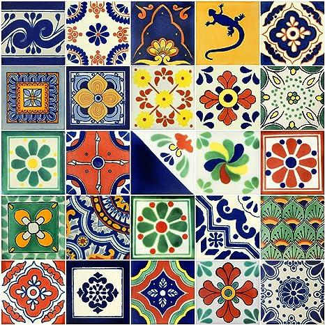 Amazon.com: 25 pintado a mano mexicano de Talavera Azulejos ...