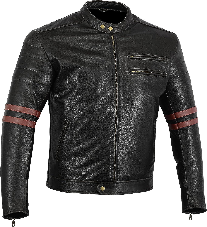 Australian Bikers Gear chaqueta moto Cafe Racer en color negro envejecido y rayas rojas oxblow con protecciones homologadas y extraíbles EN TALLA S
